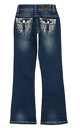 Wired Heart Girls Floral Wings Embroidered Boot Cut Jeans