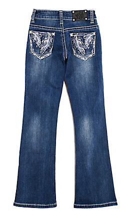 Wired Heart Girls' Medium Wash Embroidered Feather Pocket Boot Cut Jeans