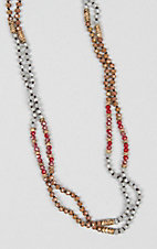 Grace & Emma Red Knotted Crystal Beaded Necklace
