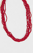 Grace & Emma Seven Strand Crimson Necklace
