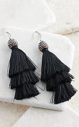 Grace & Emma Black Queen of the Tassel Earrings