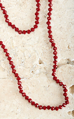 """Ashlyn Rose Crimson Red Beads Essential 60"""" Double Wrap Layering Necklace"""