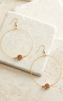 Laminin Goznales Gold Open Hoops with Pink Druzy Stone Earrings