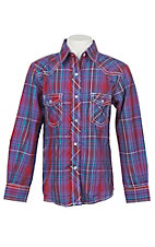 Cowgirl Legend Girls Red and Purple Plaid Long Sleeve Western Snap Shirt