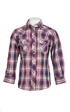 Wired Heart Girl's Pink and Purple Plaid Long Sleeve Western Snap Shirt