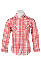 Wired Heart Girl's Coral Plaid with Silver Lurex & Rose Embroidery Long Sleeve Western Shirt