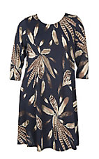 James C Women's Navy and Taupe Leaf Print Swing Dress - Plus Size