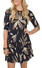 James C Women's Navy and Taupe Leaf Print Swing Dress