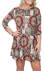 James C Women's Black, Red, and Cream Medallion Print 3/4 Sleeve Dress
