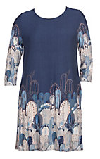 James C Women's Blue Cactus Print 3/4 Sleeves Dress - Plus Sizes