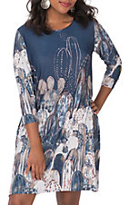 James C Women's Blue Cactus Print 3/4 Sleeves Dress