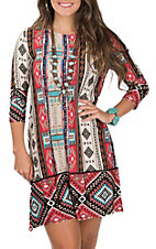 James C Women's Red and Cream Aztec Print 3/4 Sleeve with Pockets Dress