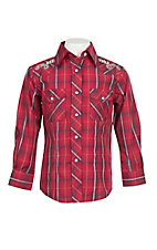 Wired Heart Girl's Red Plaid Long Sleeve Western Snap Shirt