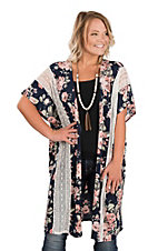 James C Women's Navy, Coral & White Floral & Lace Kimono