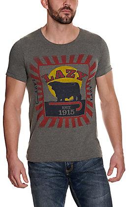 Lazy J Ranch Men's Grey Feed Bag Logo Short Sleeve Shirt