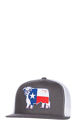 Lazy J Ranchwear Grey Texas Flag Elevation Patch Snap Back Cap