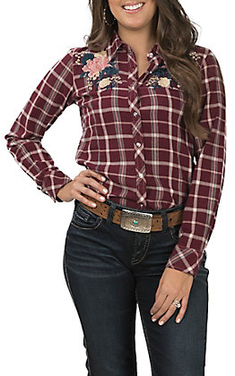 Grace in LA Women's Burgundy Plaid Embroidered Button Down Shirt