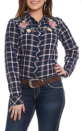 Grace in LA Women's Navy Plaid Embroidered Button Down Shirt