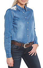 Grace in LA Denim and Lace Western Shirt