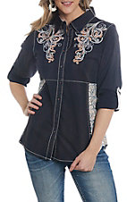 Grace in LA Women's Black Embroidered Button Down Shirt