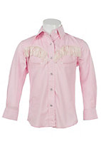 Wired Heart Girl's Pink with Cream Fringe Long Sleeve Retro Western Shirt