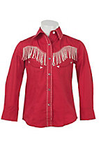 Wired Heart Girl's Red with Cream Fringe Long Sleeve Retro Western Shirt
