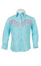Wired Heart Girl's Turquoise with Pink Fringe Long Sleeve Retro Western Shirt