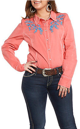 Grace in LA Women's Neon Coral Embroidered Button Down Shirt