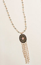 Grace and Emma Beaded Chain with Crystal Oval Pendant with Centered Rose Crystal and Tassel Necklace