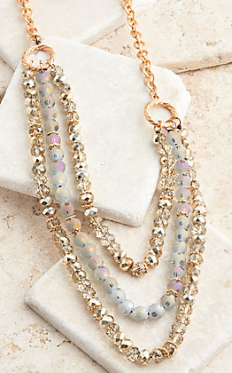 Grace & Emma Rose Gold Crystal Beaded Necklace