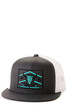 Salty Rodeo Co. Grey & White Turquoise Lightning Snapback Cap