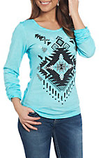 Cowgirl Legend Women's Turquoise Aztec Print Long Sleeve Casual Knit Top