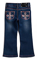 Wired Heart Toddler Girls Cross Embroidered Pocket Boot Cut Jeans