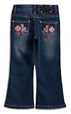 Wired Heart Toddlers Girls Floral Stitched Pocket Boot Cut Jeans