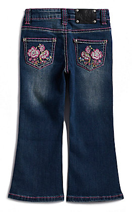 Wired Heart Toddler Girls' Floral Stitched Pocket Boot Cut Jeans