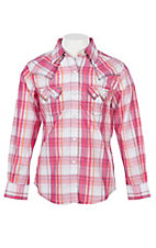 Wrangler Girls Pink Plaid Woven Sawtooth Pocket L/S Western Snap Shirt