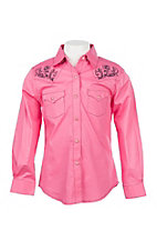 Wrangler Girls Solid Pink w/ Embroidered Yokes L/S Western Snap Shirt