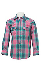 Wrangler Girl's Pink and Navy Plaid L/S Western Snap Shirt