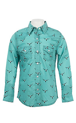 Wrangler Girls Turquoise with Black Skull Print Long Sleeve Western Shirt