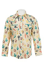 Wrangler Girls Ivory Cactus Print Long Sleeve Western Snap Shirt