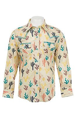 Wrangler Girls Ivory Cactus Print Long Sleeve Western Snap Shirt