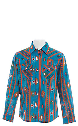 Wrangler Girls' Blue Aztec Print Long Sleeve Western Shirt