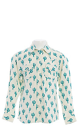 Wrangler Girls' Cactus Print Long Sleeve Western Shirt