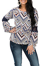Cowgirl Legend Women's White, Blue, Gold and Red Chevron Print Fashion Shirt