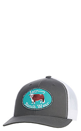 Lazy J Ranch Wear Grey & White Hereford Logo Patch Cap