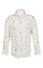 Wrangler Girls Cream Cactus Print Long Sleeve Western Snap Shirt