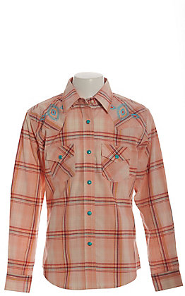 Wrangler Girls' Peach and Turquoise Plaid with Aztec Embroidery Long Sleeve Western Shirt
