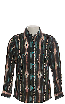 Wrangler Girls' Black with Peach and Turquoise Aztec Long Sleeve Western Shirt
