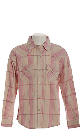 Wrangler Girls' Cream and Light Pink Plaid Long Sleeve Western Shirt