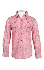 Wrangler Girl's Red and White Paisley Print Long Sleeve Western Snap Shirt